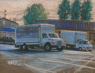 Parking Drawing - Delivery Trucks by Donald Maier