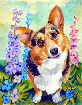 Watercolor Pet Portraits Wall Art - Painting - Delphiniums - Pembroke Welsh Corgi by Lyn Cook