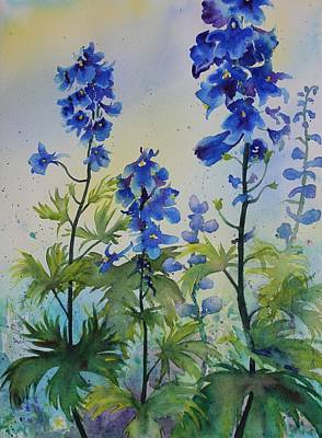 Delphiniums Art Print by Ruth Kamenev