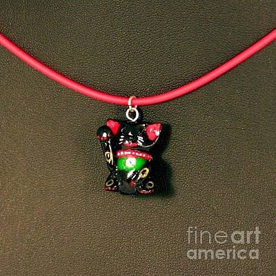 Polymer Clay Jewelry - Deluxe Hand Painted Black Maneki Neko Lucky Beckoning Cat Necklace by Pet Serrano