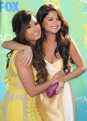 Demi Lovato, Selena Gomez At Arrivals Art Print by Everett