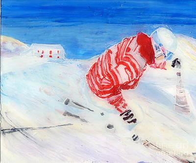 Ski Painting - Demo Skier At Balme by Sara Pendlebury