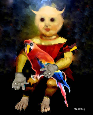 Photograph - Demon Child With Parrot by Doug Duffey
