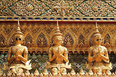 Demon Guardian Statues At Wat Phra Kaew Art Print by Panyanon Hankhampa