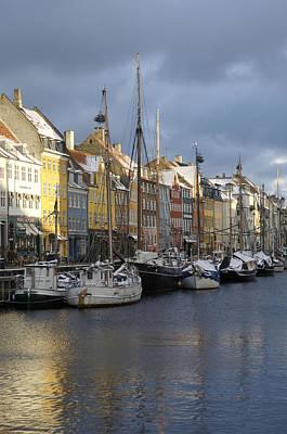 Denmark, Copenhagen, Nyhavn, Boats Art Print