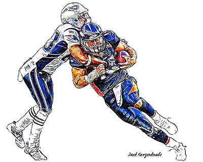 Denver Broncos Tim Tebow - New England Patriots Rob Ninkovich Art Print by Jack K