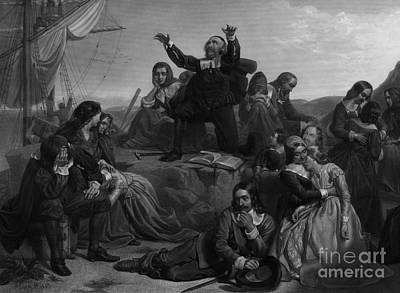 Plymouth Massachusetts Photograph - Departure Of The Pilgrims, 1620 by Photo Researchers