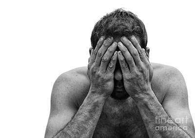 Depressed Man With Hands Over Face Art Print by Brian Akamine
