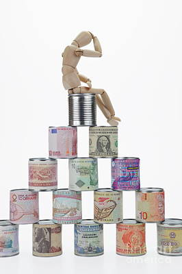 On Paper Photograph - Depressed Mannequin On Tin Cans Pyramid by Sami Sarkis
