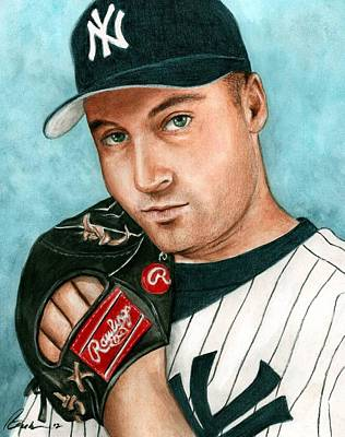 Athletes Painting - Derek Jeter  by Bruce Lennon
