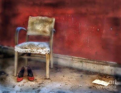 Photograph - Derelict Red Room With Chair And Red Shoes by Jill Battaglia
