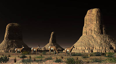 Digital Art - Desert Butte Antelope by Walter Colvin