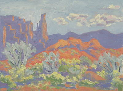 Painting - Desert Color Fisher Tower Castle Valley Moab Utah by Zanobia Shalks