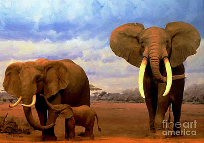 Mixed Media - Desert Elephants by Jerry L Barrett