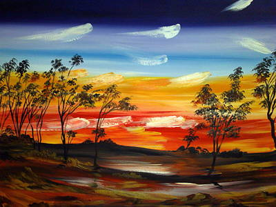 Art Print featuring the painting Desert Fire by Roberto Gagliardi