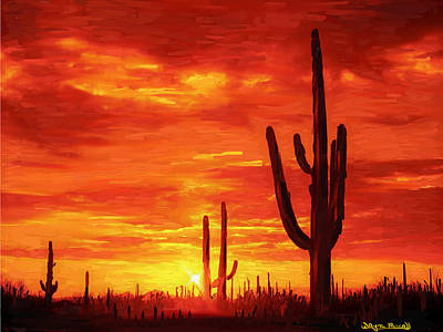 Art Print featuring the painting Desert Heat by Wayne Pascall