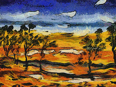 Art Print featuring the digital art Desert Homage At Van Gogh by Roberto Gagliardi