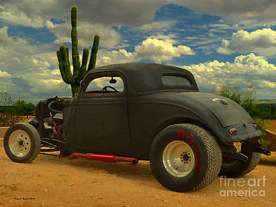 Desert Hot Rod Art Print by Jerry L Barrett