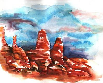 Art Print featuring the painting Desert Sentries by Sharon Mick