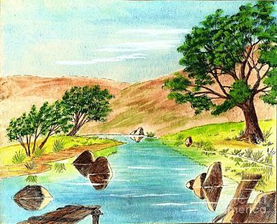 Deserted Desert Stream Art Print