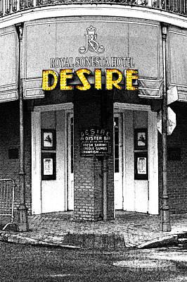 Desire Corner Bourbon Street French Quarter New Orleans Fresco Color Splash Black And White Art Print