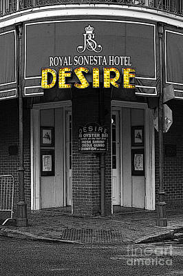 New Orleans Digital Art - Desire Corner Bourbon Street French Quarter New Orleans Poster Edges Color Splash Black And White by Shawn O'Brien