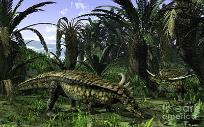 Crocodile Digital Art - Desmatosuchus Search For Edible Roots by Walter Myers
