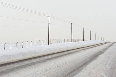 Telephone Poles Photograph - Desolate Winter Road by Lynn Koenig