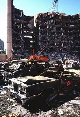Terrorism Photograph - Destroyed Automobiles Near The Bombed by Everett