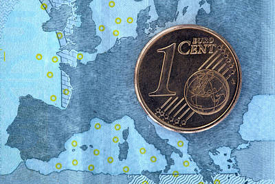 On Paper Photograph - Detail Of A Five Euro Banknote With A One Cent Euro Coin On Top Of It by Larry Washburn