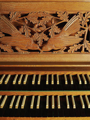 Photograph - Detail Of A Pipe Organ With A Wooden Carving by Gregor Hohenberg