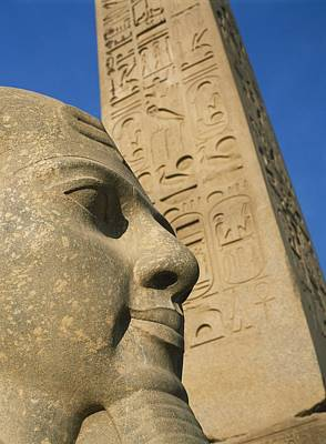 Detail Of Head Of Pharaoh In Front Of Art Print by Axiom Photographic