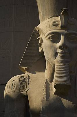 Detail Of Head Of Pharaoh Statue Art Print by Axiom Photographic