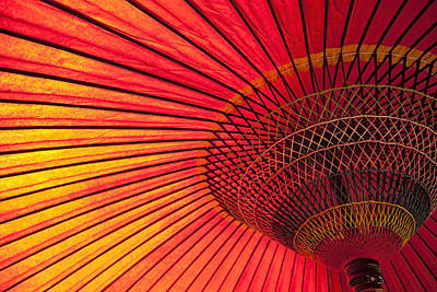On Paper Photograph - Detail Of Red Paper Umbrella by Imagewerks