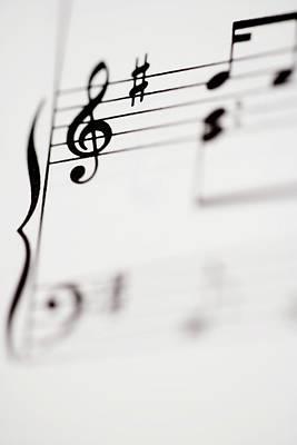 Sheet Music Photograph - Detail Of Sheet Music by Junior Gonzalez