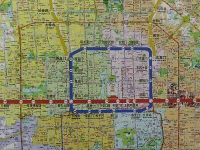 Detail View Of A Beijing Map Showing Art Print