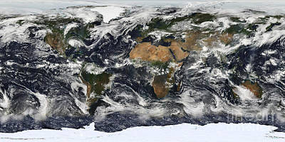 Equirectangular Photograph - Detailed Satellite View Of Earth by Stocktrek Images