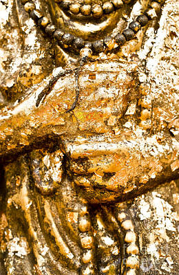 Details Of Golden Buddha Statue Art Print by Chavalit Kamolthamanon