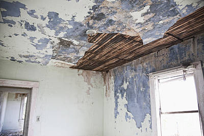 Deteriorating Ceiling In An Abandoned House Art Print by Jetta Productions, Inc