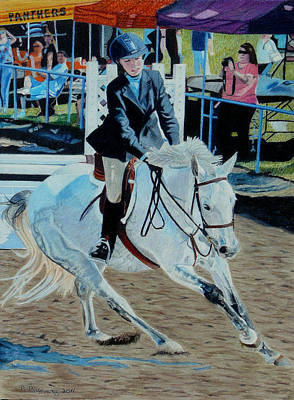 Painting - Determination - Horse And Rider - Horseshow Painting by Patricia Barmatz