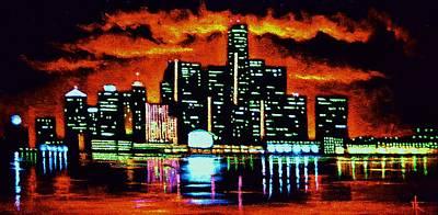 Detroit In Black Light Sold Art Print