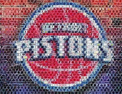 Detroit Pistons Mosaic Art Print by Paul Van Scott