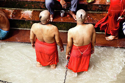 Ashram Wall Art - Photograph - Devotees At Ganges by John Battaglino