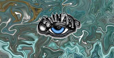Devon Mixed Media - Dew'n'art Logo For Devon E. Wilson With Aqua Fun by Devon Wilson