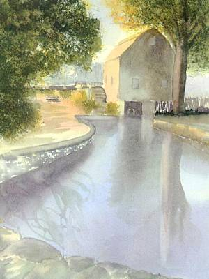 Grist Mill Painting - Dexter Grist Mill Reflections by Joseph Gallant