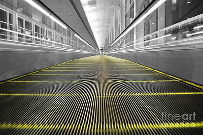 Art Print featuring the photograph Dfw Airport Walkway Perspective Color Splash Black And White by Shawn O'Brien
