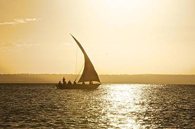 Dhow Sailing Along The Coast Of Matemo Art Print