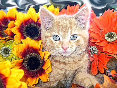 Di Milo - Sun Flower Kitten With Blue Eyes - Kitty Cat In Fall Autumn Colors With Gerbera Flowers Art Print by Chantal PhotoPix