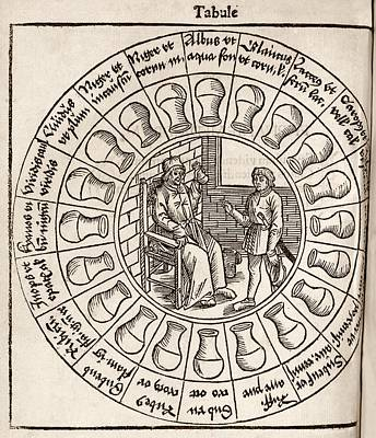 Medicine Wheel Photograph - Diagnosis From Urine, 16th Century by Middle Temple Library