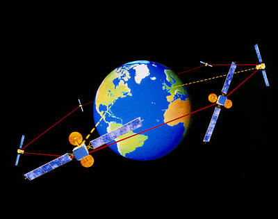 Comsats Photograph - Diagram Of Comms Satellites Linked By Lasers by Julian Baum
